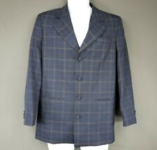 Metro Boyz Plaid Blue Gold Blazer Jacket Size 16 Reg Formal Shoulder Pads A5