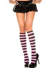 Knee High Socks Stripe Skull Crossbones Halloween Pirate Goth Witch Roller Derby