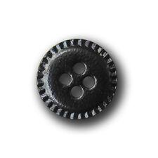 10 schwarz glänzender Vierloch Knöpfe aus Kunstleder (1133sc-18)