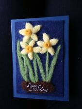 Needle Felted Birthday Card. Daffodils.