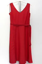 """Marks and Spencer Linen Dress ~12 Petite~ Red Fit & Flare Sleeveless Length 44"""""""