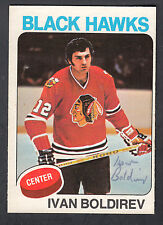Ivan Boldirev Hand Signed 1975-76 Topps Hockey Card #12 Blackhawk In Person Auto