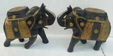 Wooden Elephant Old Handcraft Brass Fitted Figurine Statue Home Decor Art
