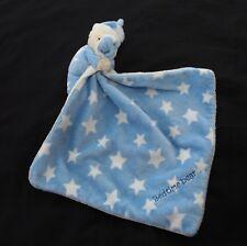 Mothercare teddy bear comforter Bedtime blue white stars rattle lovie baby soft