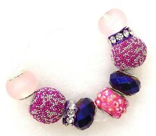 9 Large Big Hole Silver Rhinestone Beaded Spacer Beads Fit European Bracelet