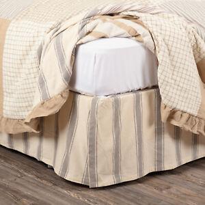 King Bed Skirt Nickel Gray & Tan Grain Sack Ticking Stripe Flat Panel Grace
