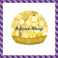100 perline distanziatore cocco donut Giallo 15mm