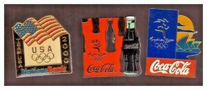 Sydney 2000 Olympics pins: Nations Bank Team USA; 2 diff. Coca Cola