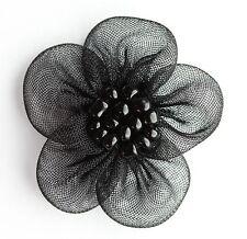 10 Piezas Flores De Organza Coser apliques Color: Negro # 1