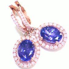 3.52CT 14K Gold Natural Tanzanite Diamond Vintage AAAA Engagement Drop Earrings