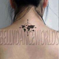 1 SET OF 4 WORLD MAP COMPASS DESIGN TEMPORARY TATTOO BODY ART STICKER TATOUAGE