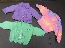 THREE(3) HANDMADE HAND KNITTED CARDIGANS BABY GIRLS/0-3 MONTHS