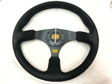 Drifting Racing Black Stitch 350mm Black Flat Suede Leather Steering Wheel
