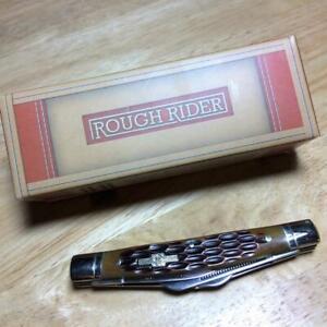 "Rough Rider Amber Jigged Bone Congress 3 5/8"" Pocket Knife RR053"