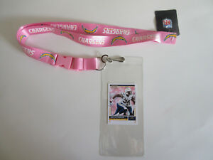 L.A. CHARGERS PINK LANYARD & TICKET HOLDER PLUS  COLLECTIBLE PLAYER CARD