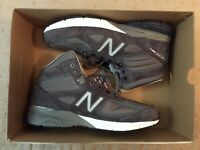 New Balance 990 v4 Mid Boot Athletic Shoes For Men (Gray/White/Silver) Size13