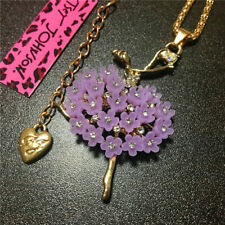 Purple Flower Crystal Cute Ballet Dancer Betsey Johnson Pendant Necklace Chain