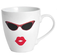 Pfaltzgraff Everyday Coffee Tea Cup Mug 18oz Lips Sunglasses Kiss NEW 0HG3