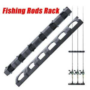 Vertical Fishing Rod Rack 6 Rods Holder Wall Mount Storage Pole Stand^