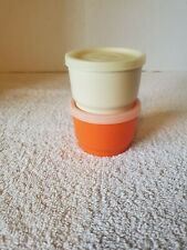 2 Tupperware #1229 Pudding / Snack Cups With Lids Beige & Orange