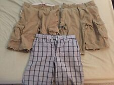 Boys Old Navy / Faded Glory Khaki Cargo Plaid Shorts Clothes Size 10 Lot Of 3