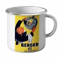 Mug Emaillé Métal Berger 45 Retro Vintage Affiches Commercials Bar Cafe Terrases