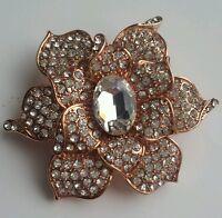 Beautiful Crystal Rhinestone flower Brooch Pin - rose gold  (UK Seller)
