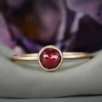925 STERLING SILVER GOLD VERMEIL ROSE CUT RED GARNET DAINTY MINIMAL WEDDING RING