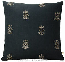 Zoffany End Paper Designer Fabric Indigo Stone Cushion Pillow Cover