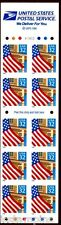 #2920De 32c Flag over Porch V23222 Unfolded Booklet Pane of 10 (1)