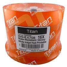 100 Titan DVD-R 16X Semi-Gloss (Glossy) Water Resistant White Inkjet Printable