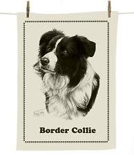 Mike Sibley licensed Border Collie dog breed cotton tea towel - dog lover gift