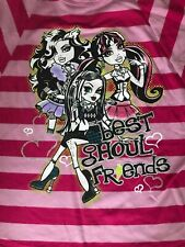 Monster High Batwing Girls Top Size 7/8 Pink Striped Best Ghoul Friends