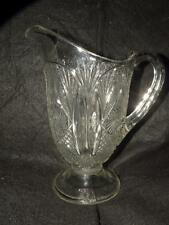 "ANTIQUE EARLY AMERICAN PATTERN GLASS  EAPG WATER PITCHER 8.50"" TALL"