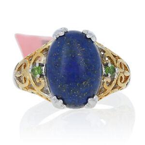 Silver Lapis Lazuli & Peridot Ring - 925 Gold Plated Oval Cabochon Cut .10ctw