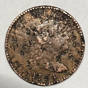 1794 S-67 Liberty Cap Large Cent, Head Of '95, R3, Damaged, Strong Date & Detail