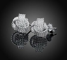 *UK*925  Silver Plated Delicate Knot Stud Earrings ((925 Stamped))