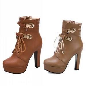Womens Ankle Boots High Block Heel Platform Buckle Zip Round Toe Shoes 40-50 D