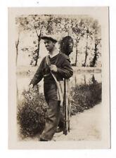 PHOTO ANCIENNE Pêche à la ligne Bord de l'eau 1928 Pêcheur Matériel de Béret