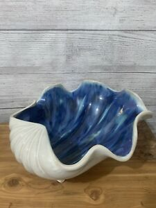 Ceramic Decorative Footed Clam Shell Bowl Center Piece Blue Green White 12x11