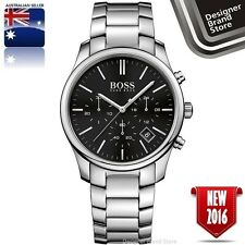 Hugo Boss Mens Time One Watch Silver Tone S/Steel Black Dial Chrono 1513433