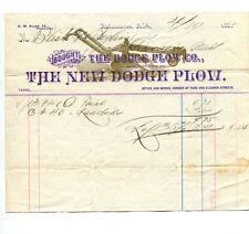Color Illustrated Billhead NEW DODGE PLOW CO 1886 Kalamazoo MI farm agriculture