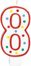 8th Birthday Candle Cake Topper Number 8 Party Age Decor Bday Decoration Candles