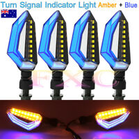 4X Motorcycle Waterproof 18 LED Amber Turn Signal Indicator Light Blue DRL Lamp
