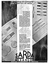 SARDA BESANCON MONTRES OMEGA POUR HOMMES PUBLICITE 1930