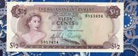 Bahamas 1/2 Dollar 1965 P 17a UNC Prefix B813424 Signatures: Sands & Higgs