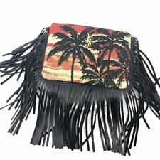 Saint Laurent YSL Tropical Pouch Clutch Wristlet Gold logo Black Fringe 403446
