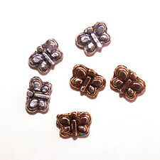 BUTTERFLY BEADS ANTIQUED GOLD PEWTER TWO SIDED 7X5MM 6 PCS PB33 BUTTERFLIES