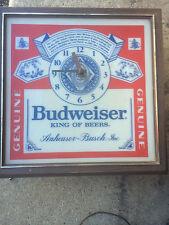 vintage BUDWEISER BEER LIGHT CLOCK SIGN ORIGINAL BAR LIGHTED PUB SIGN BUD <RARE>