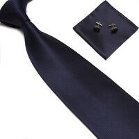 New Solid Mens Silk Tie Set Wedding Groom Party Dress Necktie Hanky Cufflinks